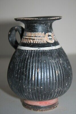 ANCIENT GREEK CAMPANIAN POTTERY FLUTED OLPE MUG 3rd CENTURY BC
