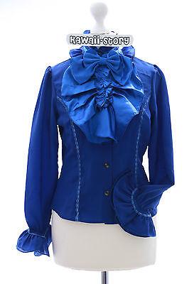 JL-560 S/M/L/XL/XXL Blau Vintage Schleife Bluse Chiffon Gothic Lolita (Chiffon Vintage Kostüm)