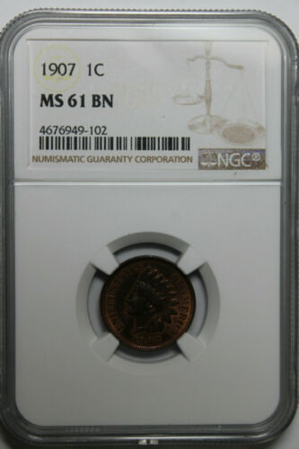 1907 NGC MS61 BN Indian cent