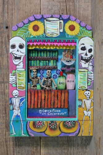 Pulque Bar Death Day of the Dead Wood Retablo Handmade & Painted Mexico Folk Art