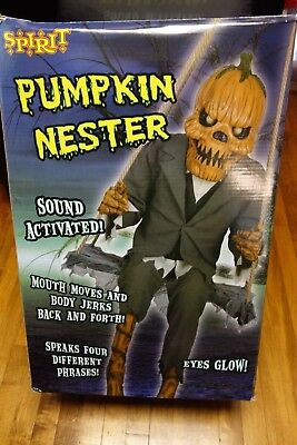 Sold Out Spirit Halloween LARGE 4.5 ft. Pumpkin Nester on Swing Prop Funny Box