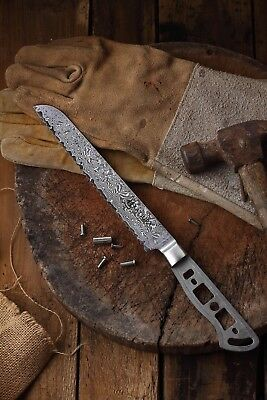 KATSURA Japanese Damascus AUS 10 woodworker Bread knife kit blank 8 inch