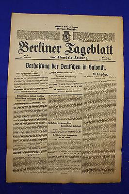 BERLINER TAGEBLATT (4.1.1916): Verhaftung der Deutschen in Saloniki