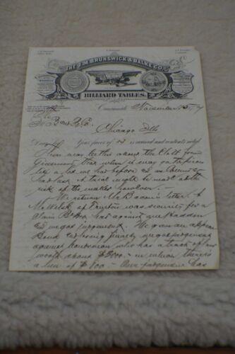 Antique Pool/Billiard/Table/Brunswick J M Brunswick Letterhead 1877 Rare!!!