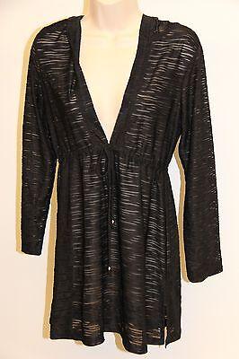 J.valdi Swimsuit Bikini Cover Up Dress Size M Black Hooded