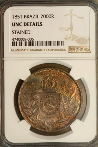 Brazil 1851 2000 Reis NGC Unc Details Stained  Nice. Just toned with some colors