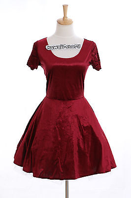 K-13 Gr. S-M kurzarm Tanz Party Kleid dress kurz short rot Samt Japan - Japan Tanz Kostüm