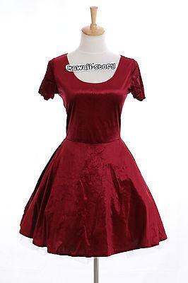 K-13 Gr. S-M kurzarm Tanz Party Kleid dress kurz short rot Samt Japan Gothic