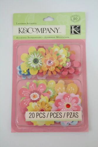 K&Company Bright Colors Flower Layered Embellishments Scrapbooking, 20 Pieces