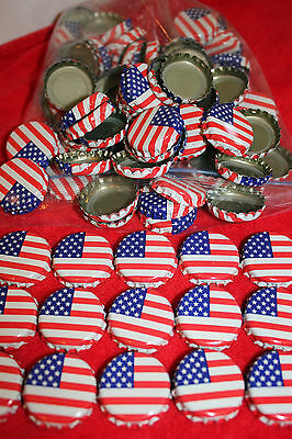 100 FLAG STARS & STRIPES RED WHITE BLUE BEER BOTTLE CAPS NO DENTS FREE SHPG!
