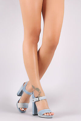 Mary Jane Chunky Heel (Women Denim Open Toe Mary Jane Ankle Strap Chunky High Heel Platform Pump)