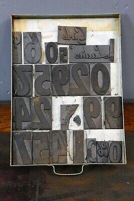 Vintage Letterpress Letters Magnetic Rubber Print Blocks Green Industrial Drawer