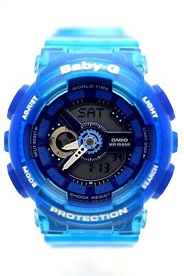 CASIO BABY-G BA-110JM-2A Small Analog Digital Blue Dial Blue Clear Resin