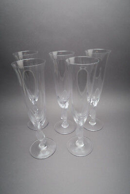 5 X Crystal Champagne Glasses with The Pigeon Igor Carl Faberge
