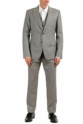 Dolce & Gabbana Three Button Suit - Dolce & Gabbana Men's Wool Silk Gray Two Button Three Piece Suit US 40 IT 50