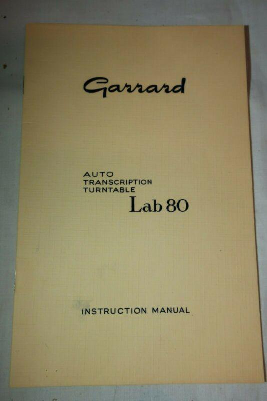 Vintage Garrard Lab 80 Auto Transcription Turntable Instruction Manual & Docs