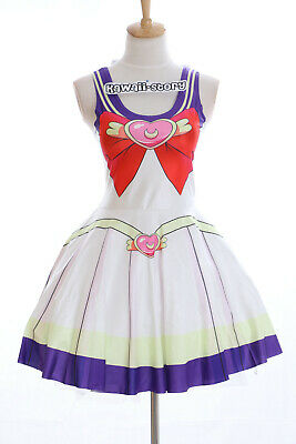 SK-10 Gr. S-M  Sailor Moon Usagi Bunny Weiß Kleid Cosplay Manga Kostüm Anime