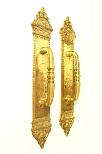 "Blois Pattern Door Pulls In Solid Cast Brass Hardware 17 x 2.5"" Ornate Pattern"