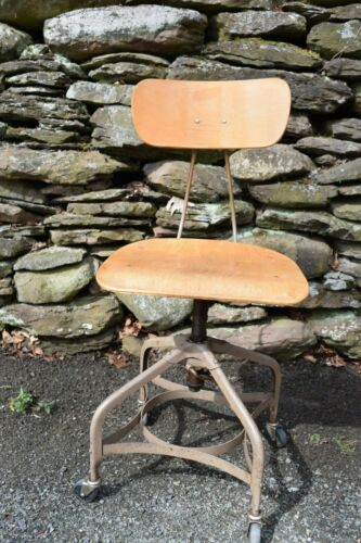 Vintage Toledo Metal Furniture Co Drafting,office Stool Steam Punk Industrial