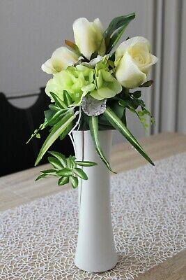 iß silber Kunstblumen Keramik Blumenvase Gesteck Blumen 28cm (Weiße Keramik-vasen)