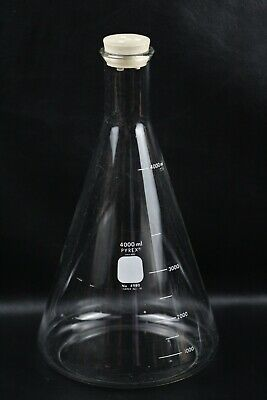 Pyrex Glass 4000ml Graduated Erlenmeyer Flask W 10 Rubber Stopper 4l