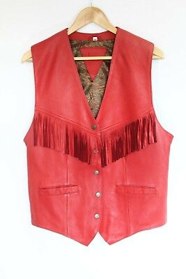 Western Leather Vest Cowboy Rodeo Fringe Cowgirl Adult Red Oklahoma Costume ](Cowboy Vest Costume)