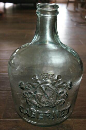 Beautiful! 3 1/2 Gallon Glass Cabernet Wine Carboy Jug! Raised Coat of Arms Logo