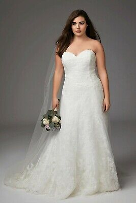 WATTERS Brides 7066T Ivory White FARRIN Lace Strapless A-Line Bustier Gown 20W