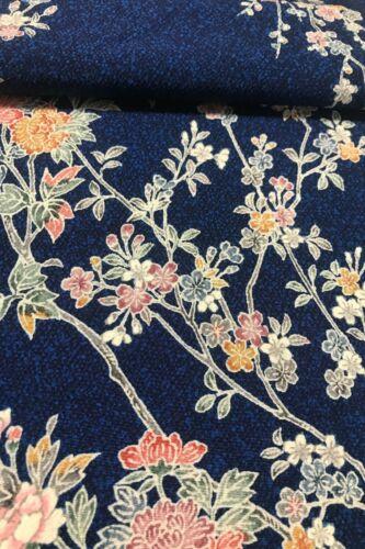 @@ 160 cm Japanese kimono silk fabric/smooth crepe/ dark blue D96