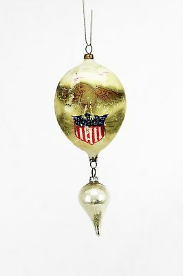 Antique Rare Blown Glass Patriotic Christmas Ornament Eagle & Shield ca1900