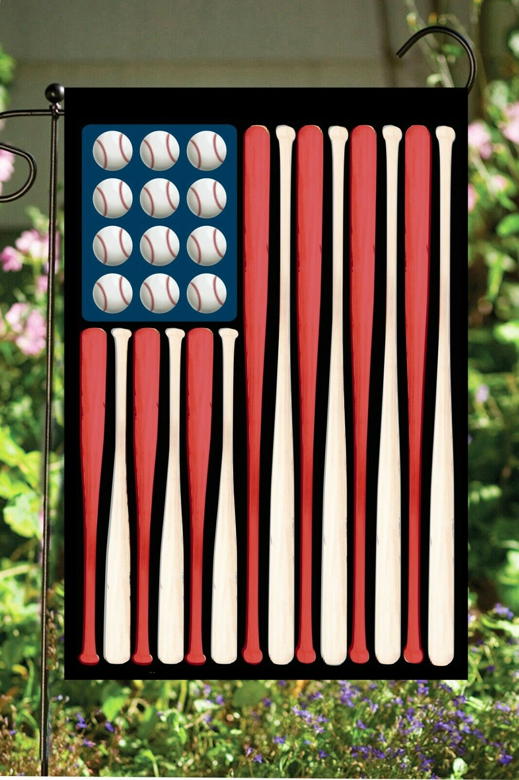 Baseball Bats and Balls Double Sided Soft Flag  **GARDEN SIZ