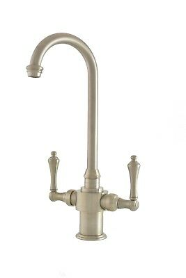 Traditional Single Hole Kitchen Bar Prep Faucet Lever Handles Brushed Nickel ()