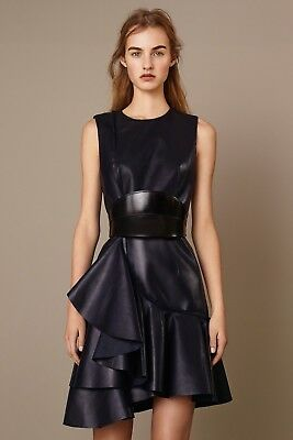NWT Alexander McQueen $5500 Leather Runway Couture Ruffle Dress Gown 40/6