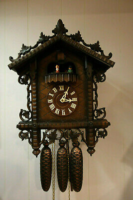 RAILROAD Style/Musical Black Forest CHALET Cuckoo Clock - 8 Day VERY NICE/UNIQUE Chalet Style Cuckoo Clock