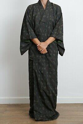 Authentic traditional vintage Japanese tsumugi silk kimono