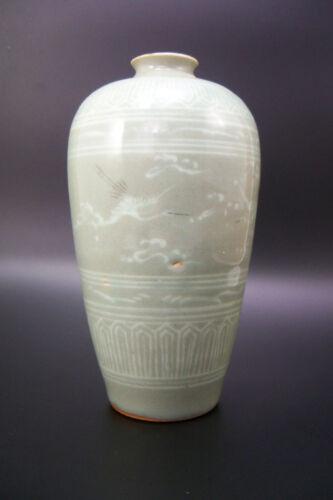 Korean Koryo Goryeo Dynasty (12-14thc) Celadon Meiping Vase Cranes