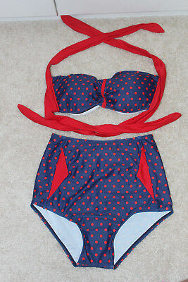 50's Style Pin Up Girl High Waisted Bikini Red Blue Polka Dots Medium M New](50s Girl Fashion)