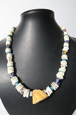 Schönes Collier alte Glasperlen Schnecken Old Venetian trade beads Afrozip