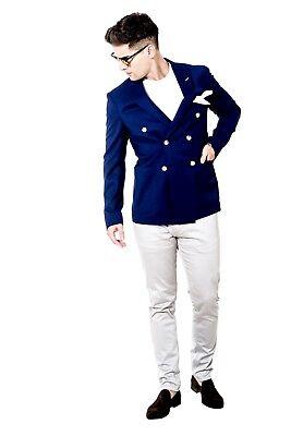 Mens Blazer Slim Fit Blue Navy Double Breasted Blazer Designer Alexander Caine