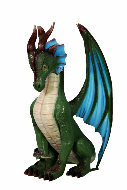 Small Sitting Green And Blue Dragon Life Size Statue