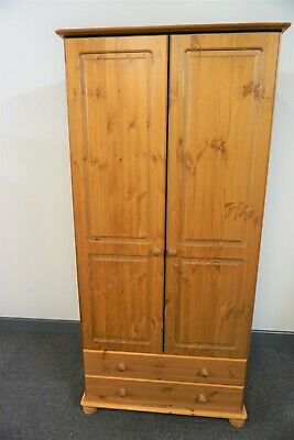 2 DRAWER PINE DOUBLE DOOR WARDROBE