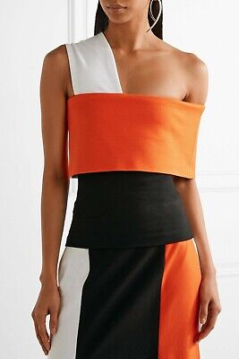 $590.00 Rosetta Getty Orange Color-block One Shoulder Stretch Knit Top Sz.S