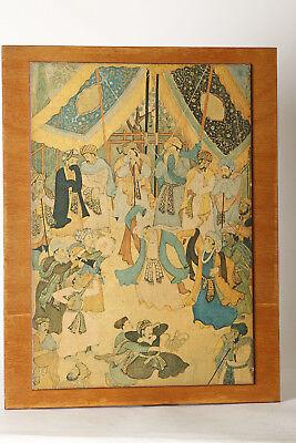 Holzbild  Indische Miniaturen - Musik göttlicher Liebe , ca 34x44 cm  (85442)