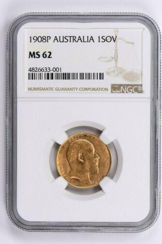 1908P Australia 1 Sovereign NGC MS 62 Witter Coin