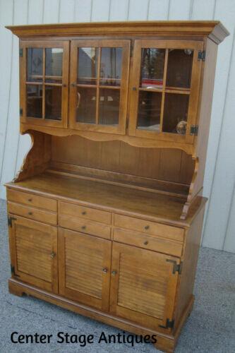 60901  ETHAN ALLEN Maple 2 piece China Cabinet Curio Breakfront