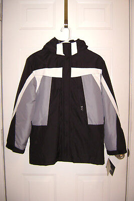 CHEROKEE 4-IN-1 BOYS WINTER COAT L 12 14 FLEECE LINED JACKET HOOD BLACK *READ!* ()