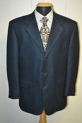 Pal Zileri Men's 100% Cashmere Black & Blue 3 Front Button Sports Coat Sz 42