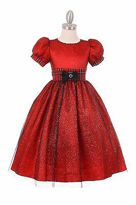 New Girls Red Glitter Taffeta Dress Christmas Holidays Pageant Wedding 1213 - Girls Red Christmas Dresses