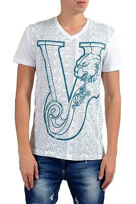 Versace Jeans Men's White Graphic Short Sleeve V-Neck T-Shirt Size S M L XL