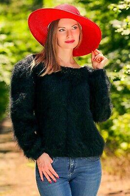 Black mohair sweater fuzzy top light boa tneck jumper hand knit SUPERTANYА](Fuzzy Boa)